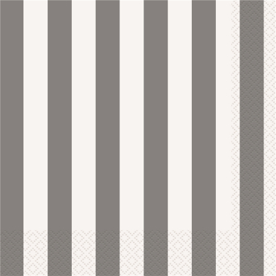 Stripes Silver Luncheon Napkins 16PK