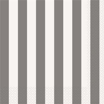 Stripes Silver Luncheon Napkins 16PK