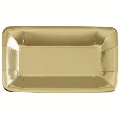 Metallic Gold Foil 23cm X 13cm Paper Plates 8PK