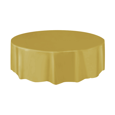 Round Plastic Tablecover Gold