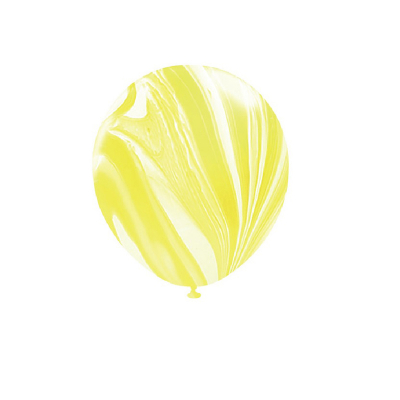 30cm Helium Quality Latex Balloons Marble Yellow 10PK