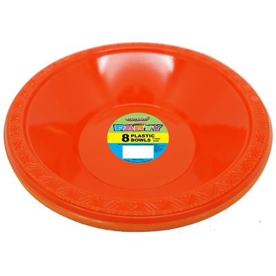 Plastic Bowls 18cm Orange 8PK