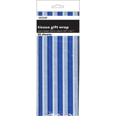 Stripes Royal Blue Tissue Sheet Gift Wrap 10PK
