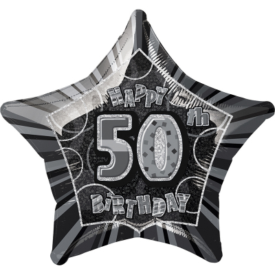Glitz Birthday Black Star Foil Balloon 50th