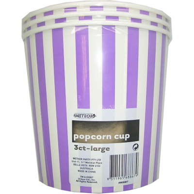 Stripes Purple Popcorn Cups Large 3PK