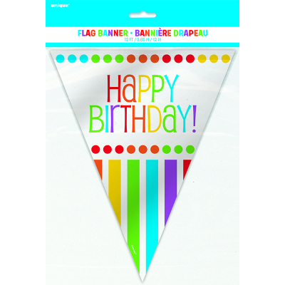 Rainbow Birthday Flag Banner 12Ft 12PK