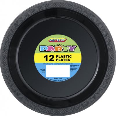 Plastic Around Plates 18cm Black 12PK