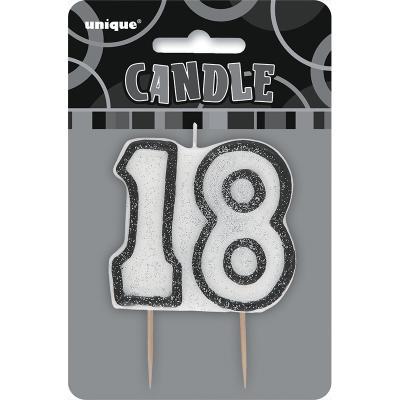 Glitz Birthday Black Numeral Candle 18th