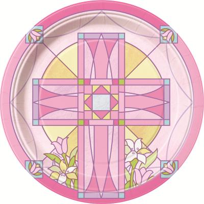 Sacred Cross Pink 23cm Plates 8PK