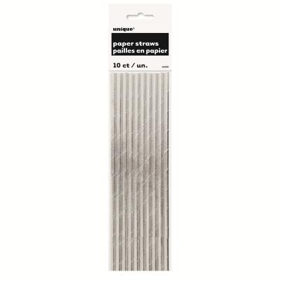 Metallic Silver Foil Paper Straws 10PK