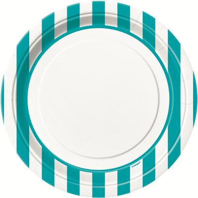 Stripes Teal 23cm Plates 8PK
