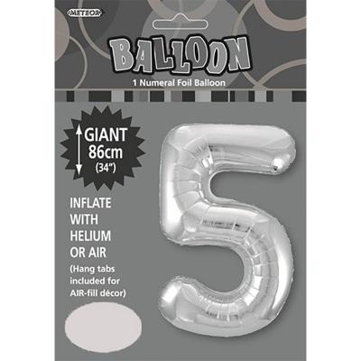 86cm 34 Inch Gaint Numeral Foil Balloon Silver 5