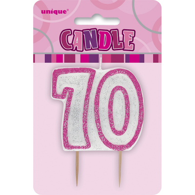 Glitz Birthday Pink Numeral Candle 70th
