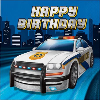 Police Party Lunch Napkins Happy Birthday 16PK