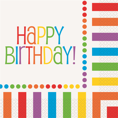 Rainbow Birthday Lunch Napkins 16PK