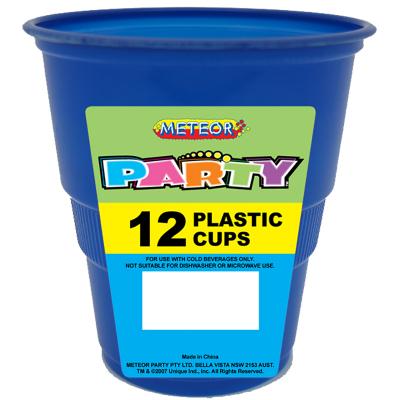 Plastic Cups 270ml Royal Blue 12PK