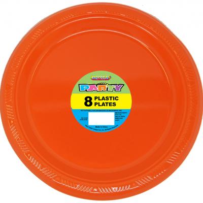 Plastic Around Plates 23cm Orange 8PK