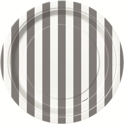 Stripes Silver 18cm Plates 8PK