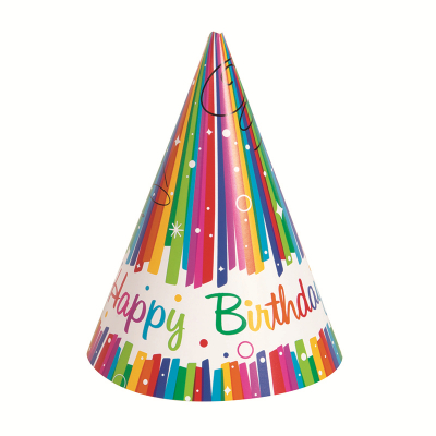Rainbow Ribbons Party Hats 8PK