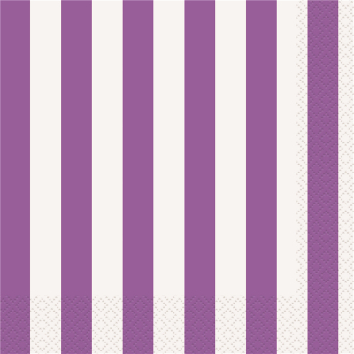 Stripes Purple Luncheon Napkins 16PK