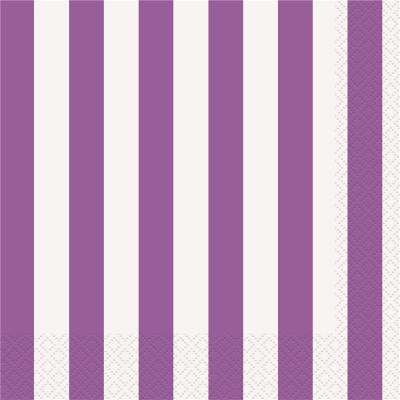 Stripes Purple Luncheon Napkins 16PK
