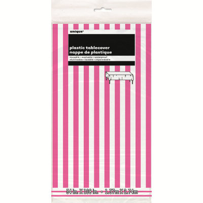Stripes Hot Pink Plastic Tablecover