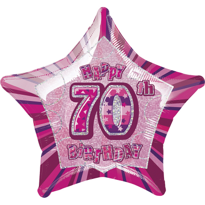 Glitz Birthday Pink Star Foil Balloon 70th