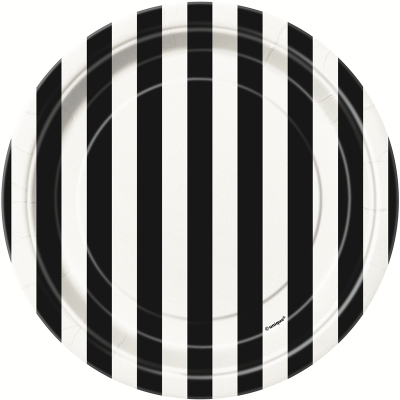 Stripes Black 18cm Plate 8PK
