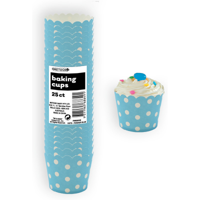 Polka Dots Baking Cups Pastel Blue 25PK