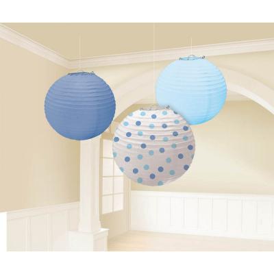 Baby Boy Blue Round Paper Lanterns 3PK