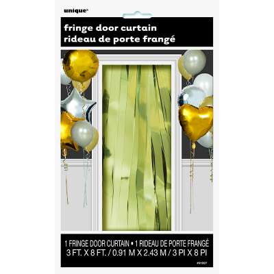 Fringe Door Curtain Metallic Gold