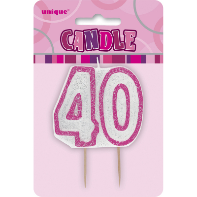Glitz Birthday Pink Numeral Candle 40th