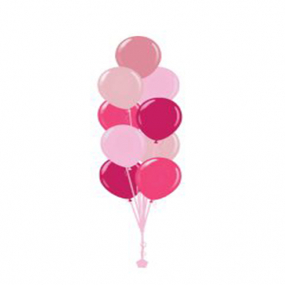 Plain Colour Helium Balloon Bouquests 9 Balloons