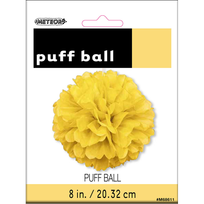 Hanging Puff Ball Decoration 20cm Yellow