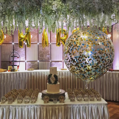 90cm Confetti Premium Latex Balloon with Helium & Weight