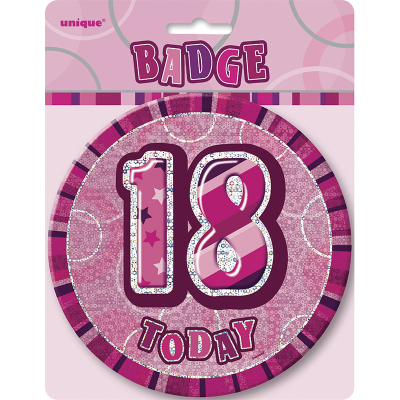 Glitz Birthday Pink Badge 18th
