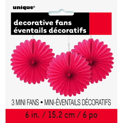 Hanging Decorative Fan 15cm Red 3PK