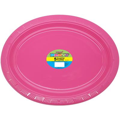 Oval Plastic Plates Pink 5PK