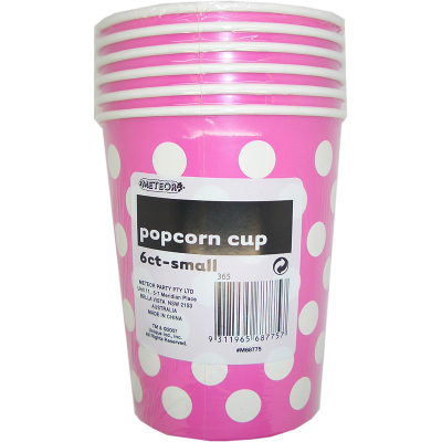 Polka Dots Popcorn Cups Small Hot Pink 6PK