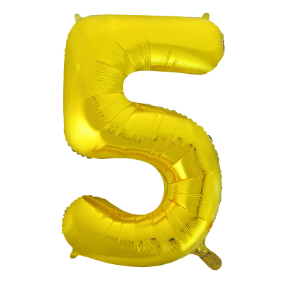 86cm 34 Inch Gaint Number Foil Balloon Gold 5 Inflated with Helium