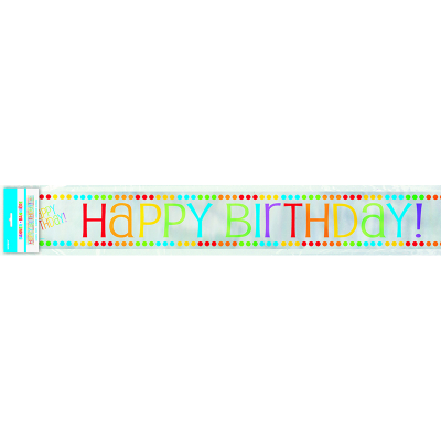 Rainbow Birthday Foil Banner 12Ft 12PK