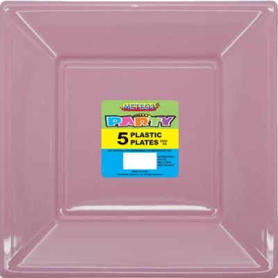Square Plastic Plates 23cm Pastel Pink 5PK