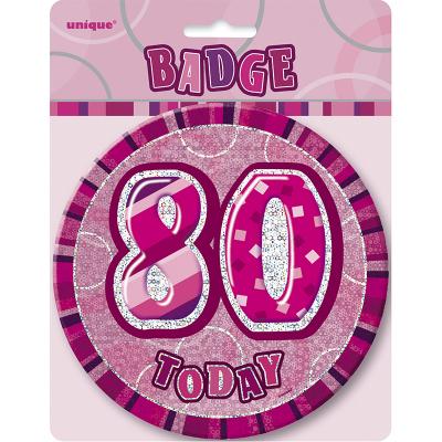 Glitz Birthday Pink Badge 80th
