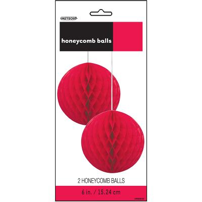 Hanging Honeycomb Balls 15cm Red 2PK