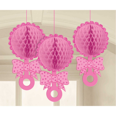 Baby Shower Pink Honeycomb Glittered Rattles Hanging Decorations 3PK