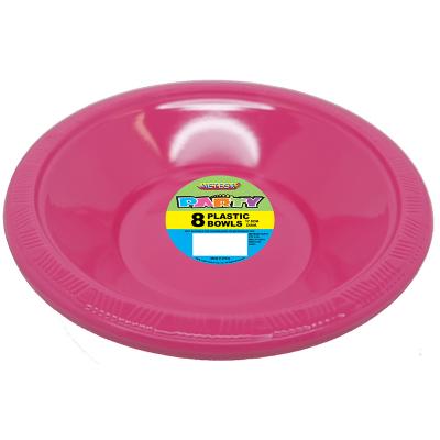 Plastic Bowls 18cm Pink 8PK
