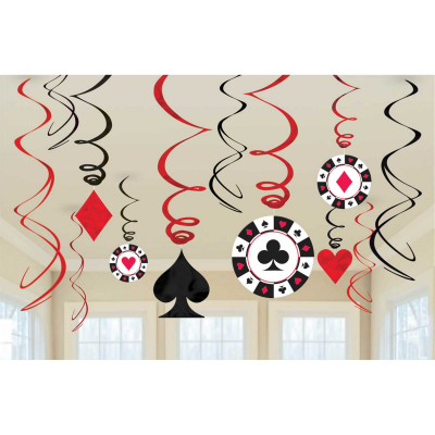 Casino Place Your Bets Hanging Swirl Decorations 12PK