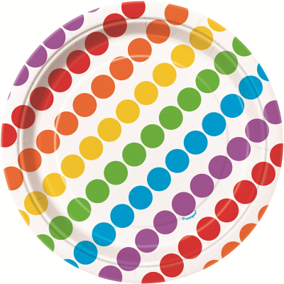 Rainbow Birthday 17cm Plates 8PK