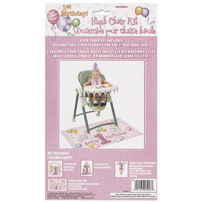 Happy 1st Birthday Pink High Chair Kit