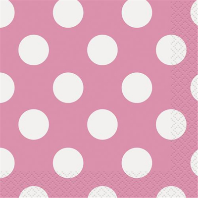 Polka Dots Beverage Napkins Hot Pink 16PK